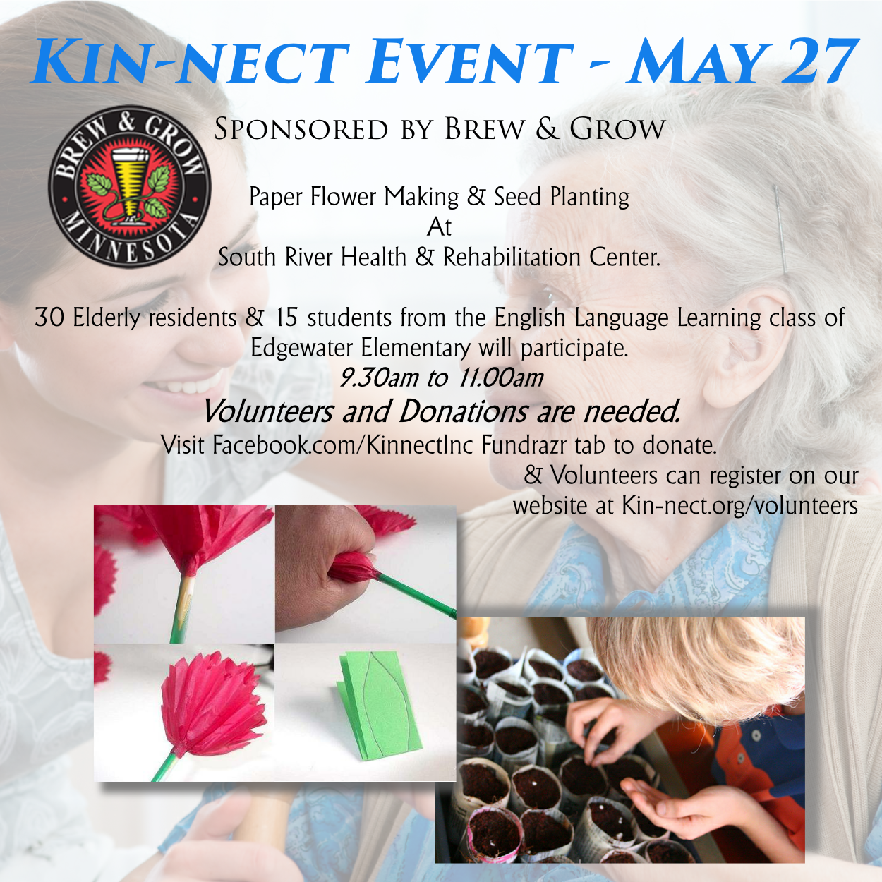 May 27 event - Paper flowers and seed planting, Kin-nect